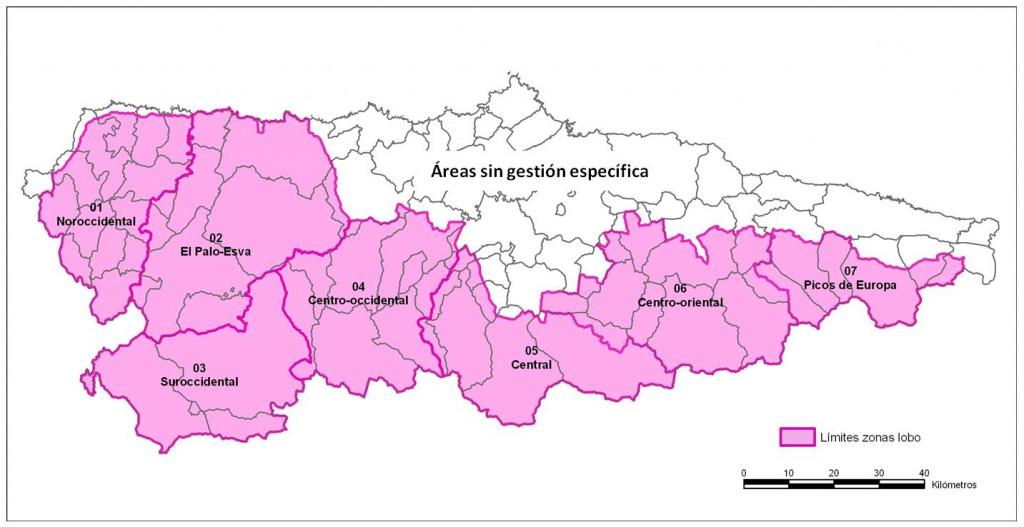 Figura 1. Zonas de gestión consideradas en el Programa Anual 2014-2015 para evaluar la demografía de la población de lobos, la predación sobre ganado atribuida a la especie,  y la conflictividad social existente; criterios todos ellos utilizados a la hora de decidir el número de lobos a eliminar o extraer en dichas zonas.